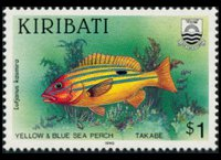 Kiribati 1990 - set Fishes: 1 $